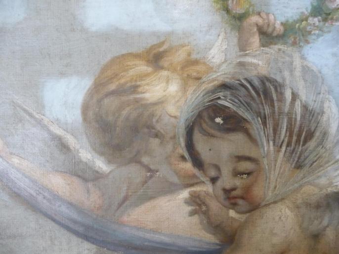 Trumeau : Angelots, XVIIIe siècle, huile sur toile marouflée sur bois